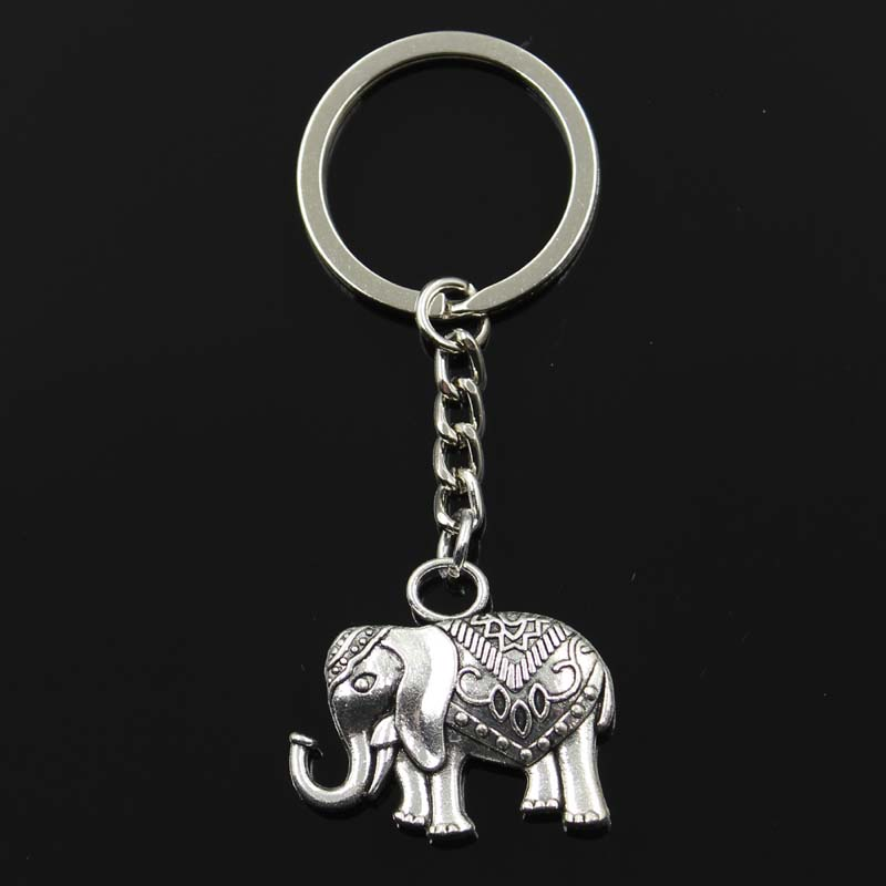New Fashion Keychain 28x31mm Elephant Pendants DIY Men Silver Car Key Chain Ring Holder Souvenir For Gift