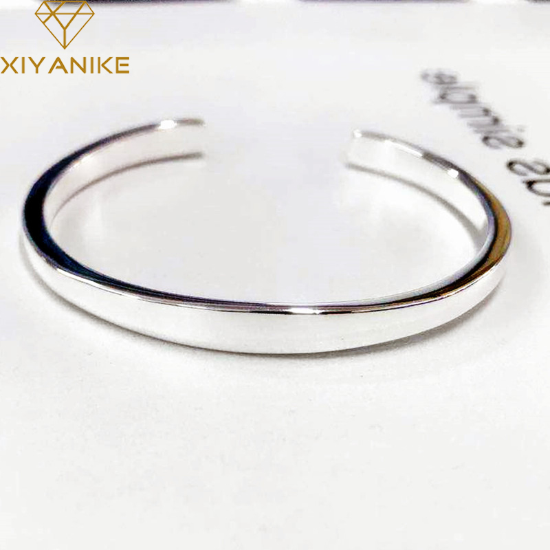 XIYANIKE 925 Sterling Silver New Fashion Glossy Solid Bracelets Bangles For Women Adjustable Handmade Charm Jewelry Gifts(China)