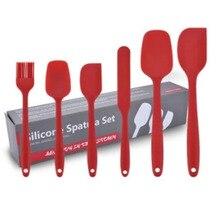 6PCs/Set Red Baking Tool Spatula Brush Set Silicone Kitchenware Cream Scraper Mixing Batter Scraper Brush Butter Bakeware Tool