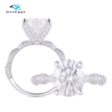 DovEggs 14k White Gold Center 5ct 9*11mm Oval Cut Moissanite Anniversary Engagement Ring Wedding Band with Accent for women Gift цены онлайн