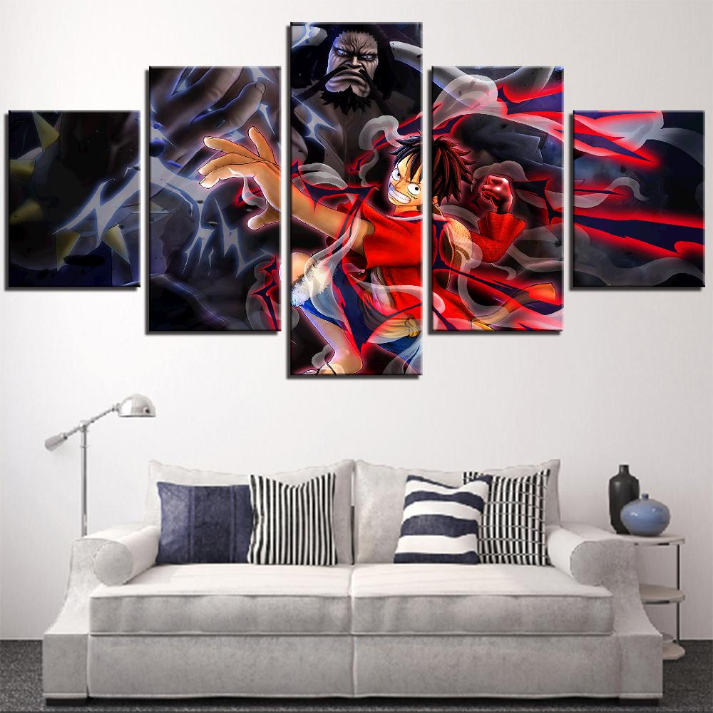 5 Pieces One Piece Canvas Posters Luffy Pictures Black Beard Wallpapers Fighting Painting For Home Room Deor Anime Artwork Frame Painting Calligraphy Aliexpress