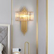Modern crystal LED lamp metal tube large long wall Sconce living room engineering hotel Wall Lamp Gold bedroom light lighting cheap regron Down Dining room Bed Room Foyer Study 220V 110V 90-260V Touch On Off Switch iron indoor lighting LED Bulbs wall lamp fixture