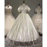 Vestido De Noiva 2020 Gryffon Real Photo Luxury Satin Lace Up Ball Gown Sweet Puff Sleeve Palace Princess Wedding Dresses