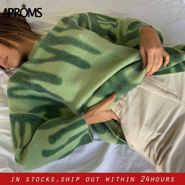 Aproms Elegant Green Striped Print Oversized Pullovers Women Winter O-Neck Loose Long Sweaters Streetwear Warm Outerwear 2021 1