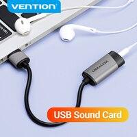 Vention-tarjeta de sonido externa USB a clavija AUX adaptador de auriculares de 3,5mm, micrófono de Audio, tarjeta de sonido 7,1, unidad gratuita para ordenador y portátil