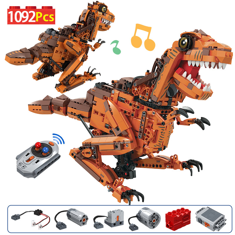 1092PCS City Creative Electric Tyrannosaurus Building Blocks Technic Jurassic World Dinosaur Bricks Toys For Children