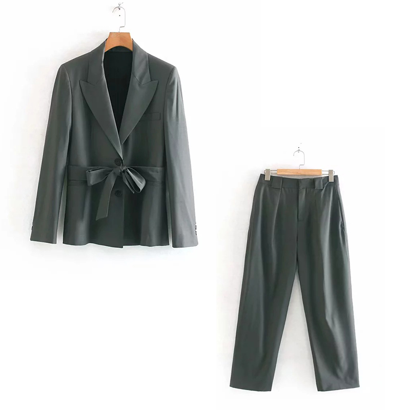 Autumn Women's Pants Suit Two-piece High Quality 2019 New Slim Fit Belt Ladies Jacket Blazer Casual Pleated Trousers