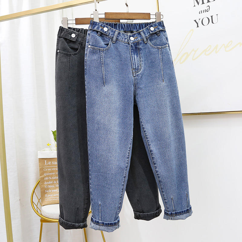 Boyfriend Jeans For Women Denim Harem Pants Stretch Large Size High Waist Jeans Female Streetwear Slim Mom Jeans Trousers Q1950