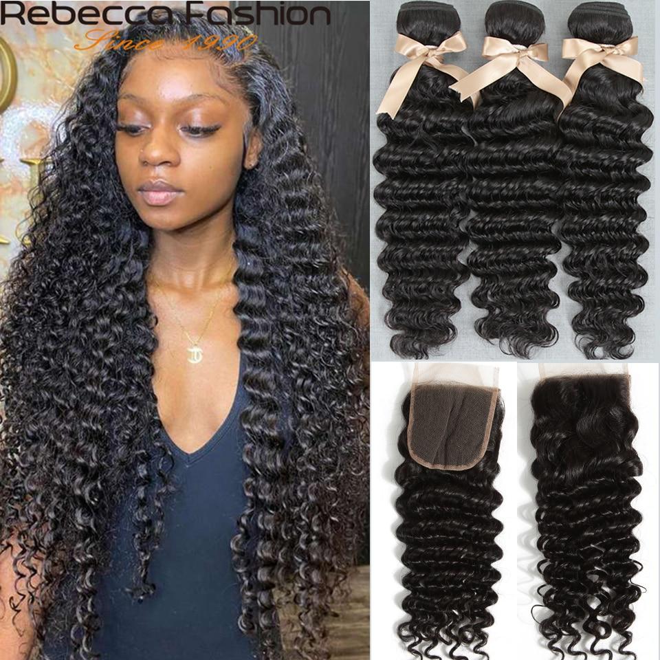 Rebecca brasileño de la onda profunda mechones con cierre brasileño profundo rizado 3 extensiones de cabello humano con cierre hd cierre con paquete