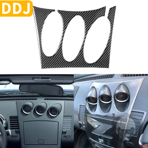 Image 1 - For Nissan 350Z Z33 2003 2009 Central tilt meter Frame Carbon Sticker Radio Air Console Panel Cover Modified Decor Accessories