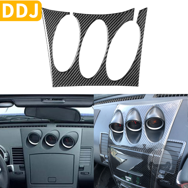 For Nissan 350Z Z33 2003 2009 Central tilt meter Frame Carbon Sticker Radio Air Console Panel Cover Modified Decor Accessories