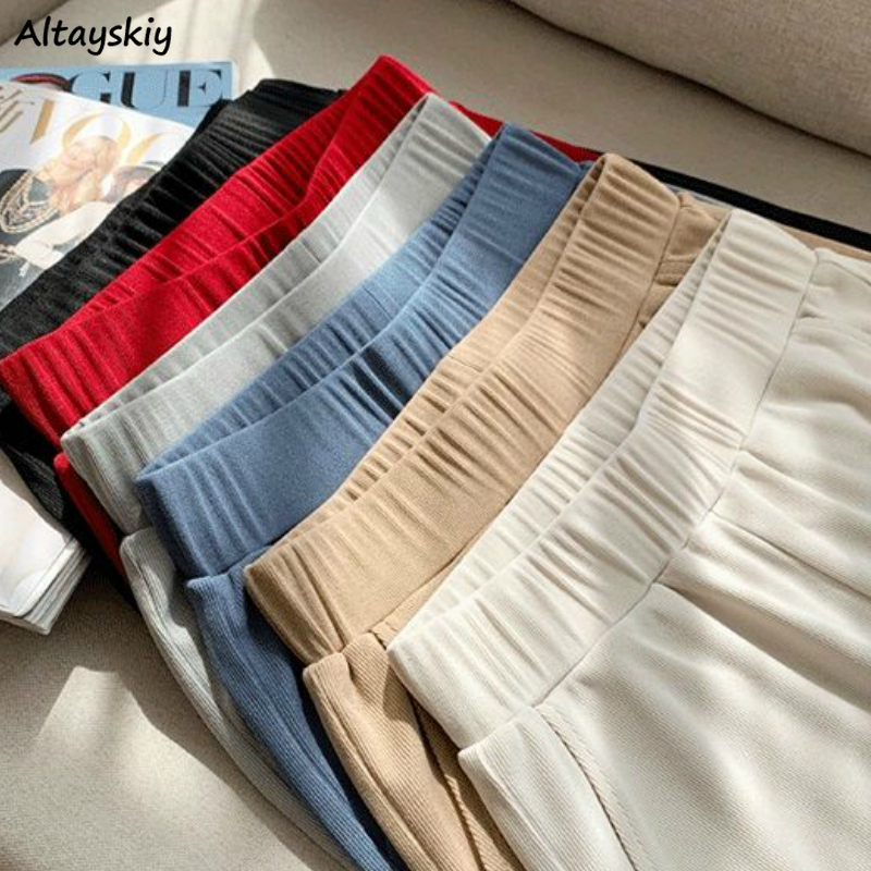 Wide Leg Pants Women All-match Summer Pure Knitted Fashion New Casual Loose High Waist Full Length Lady Capris Elegant 5 Colors