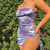 De terciopelo, Sexy, para Club, vestidos de verano de 2021, las mujeres ropa de noche sin tirantes de encaje Up Bodycon Mini vestido D69-BF17