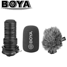Boya BY DM200 microfone estéreo profissional, microfone condensador profissional entrada lightning para iphone 8x7 7 plus ipad ipod touch espingarda etc
