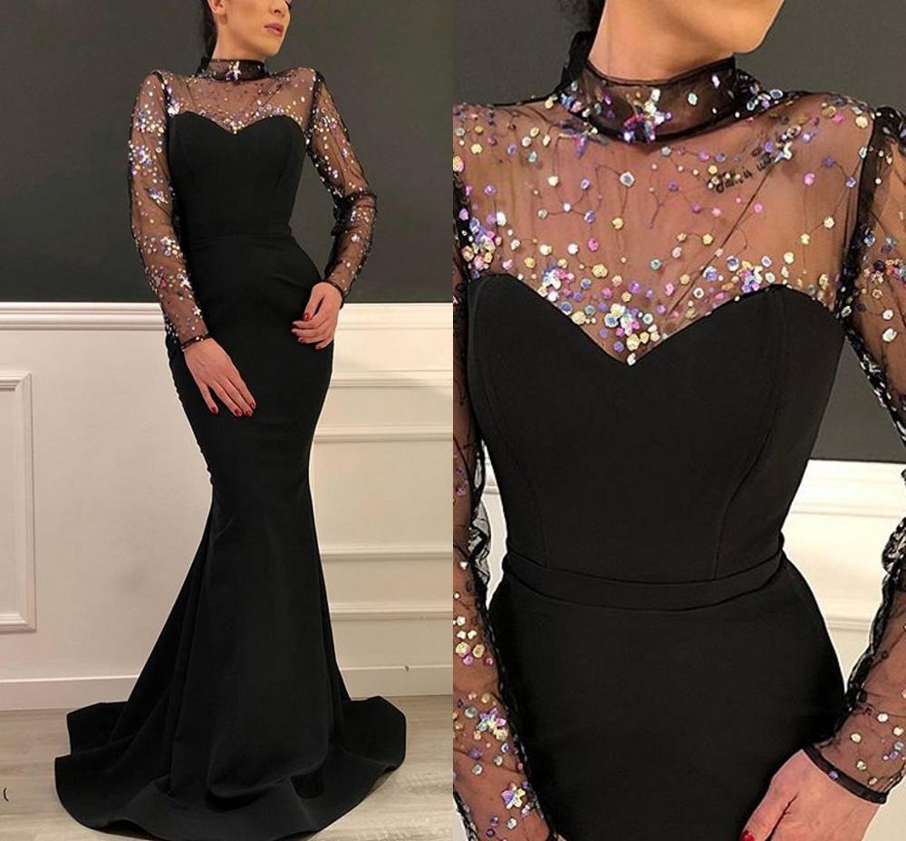 Preto longo sereia baile de formatura formal vestidos 2020 luxo sparkly alto pescoço ilusão manga longa ocasião vestidos de noite
