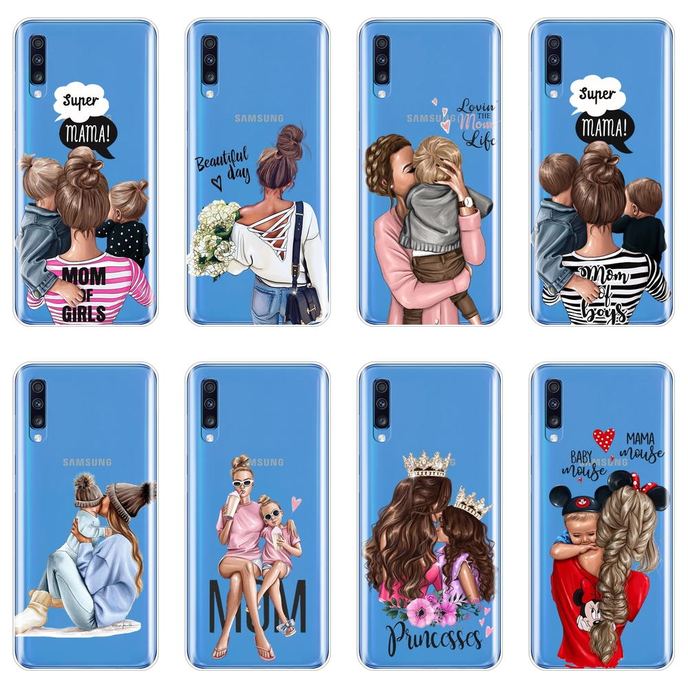 Back Cover For Samsung Galaxy A40 A30 A20 A10 Baby Mom Women Soft Silicone Phone Case For Samsung Galaxy A80 A70 A60 A50 Case image
