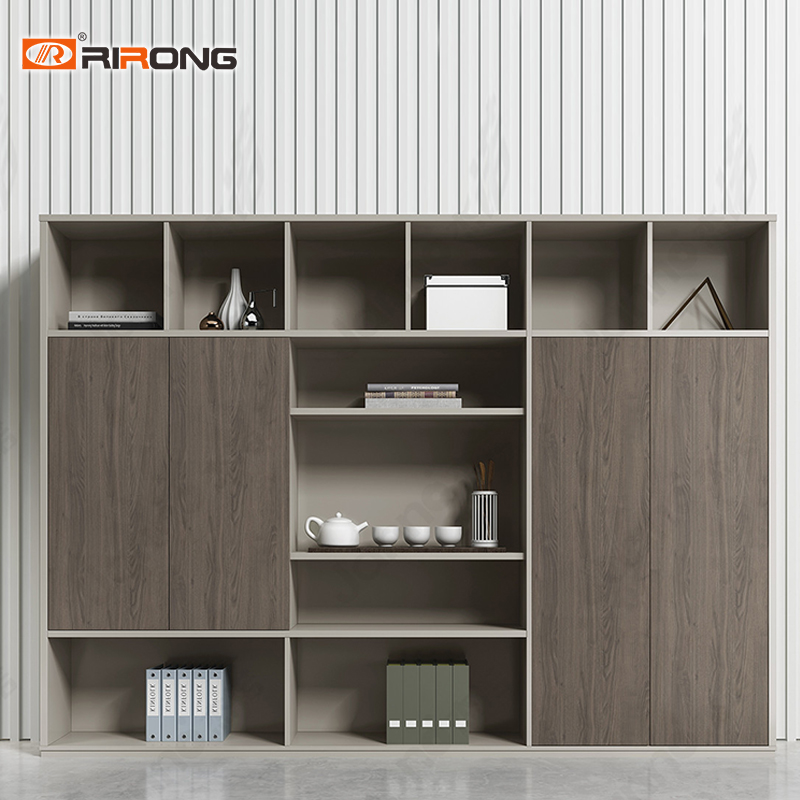 Industrial Style Standing  Grey Color Wooden Office Furniture Tall Cabinet Filling Cabinet Shelf Bookcase