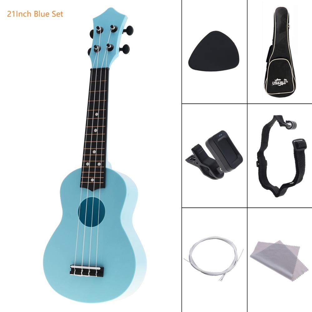 4 Strings 21 Inch Soprano Acoustic Ukulele Colorful Uke Hawaii Guitar Guitarra Musica Instrument for Kids and Music Beginner