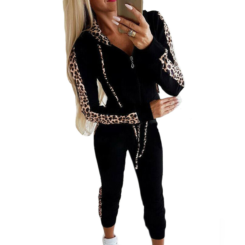 New Fashion Women 2Pcs Winter Autumn Hoodies Sports Tops Pants Tracksuit Leopard Sweatshirt Sweat Suit Jogging