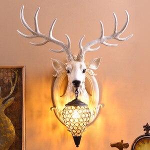 Image 1 - Deer Antler industrial design vintage wall lamp For Farmhouse Kitchen Bar wall decor light Background Bedside horn Lamp Fixtures
