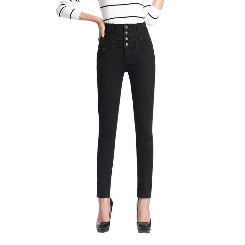 2019 Autumn Winter Womens Warm Jeans Casual High Waist Skinny Fleece Lined Pencil Pants Elastic Waist Button Pants Female Jeans