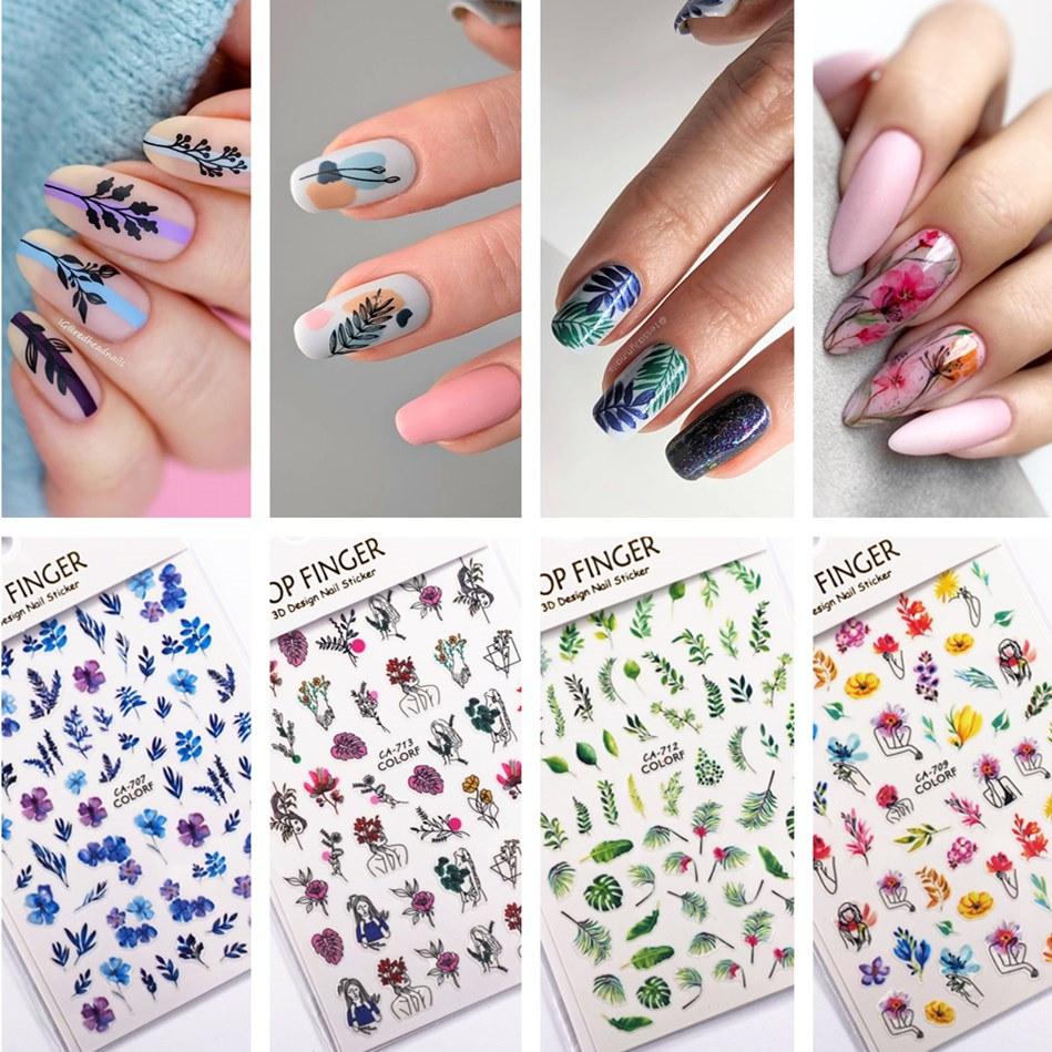 94 designs Flower 3D Sticker for nails Tropical Leaf Adhesive Nail Stickers Dry Lavender Floral Geometric Abstract Slider Decals