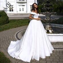 فستان زفاف بسيط من الساتان 2020 سوانتنورة قبالة الكتف الكرة ثوب الأميرة فستان زفاف مخصص الحجم Vestido de noiva TZ20