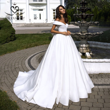 Eenvoudige Satin Trouwjurk 2020 Swanskirt Off Schouder Baljurk Prinses Bruidsjurk Aangepaste Grootte Vestido De Noiva TZ20