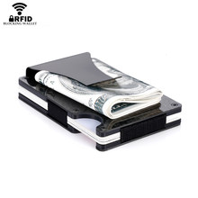 Bycobecy Carbon Fiber Credit Card Holder Minimalist Wallet Aluminum Metal Anti RFID Blocking Business Bank Card Holder For Men(China)