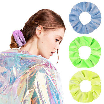 Bright Color Velvet Scrunchies pack Elastic Simple Hair Bands for Women or Girls Hair Accessories diademas para el pelo mujer image