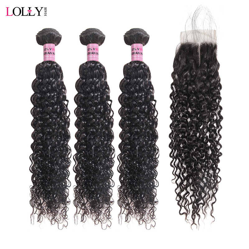 Lolly Indian Human Hair Bundles With Closure 3 Bundles Kinky Curly Weave With Closure Non Remy Hair Bundles With Lace Closure