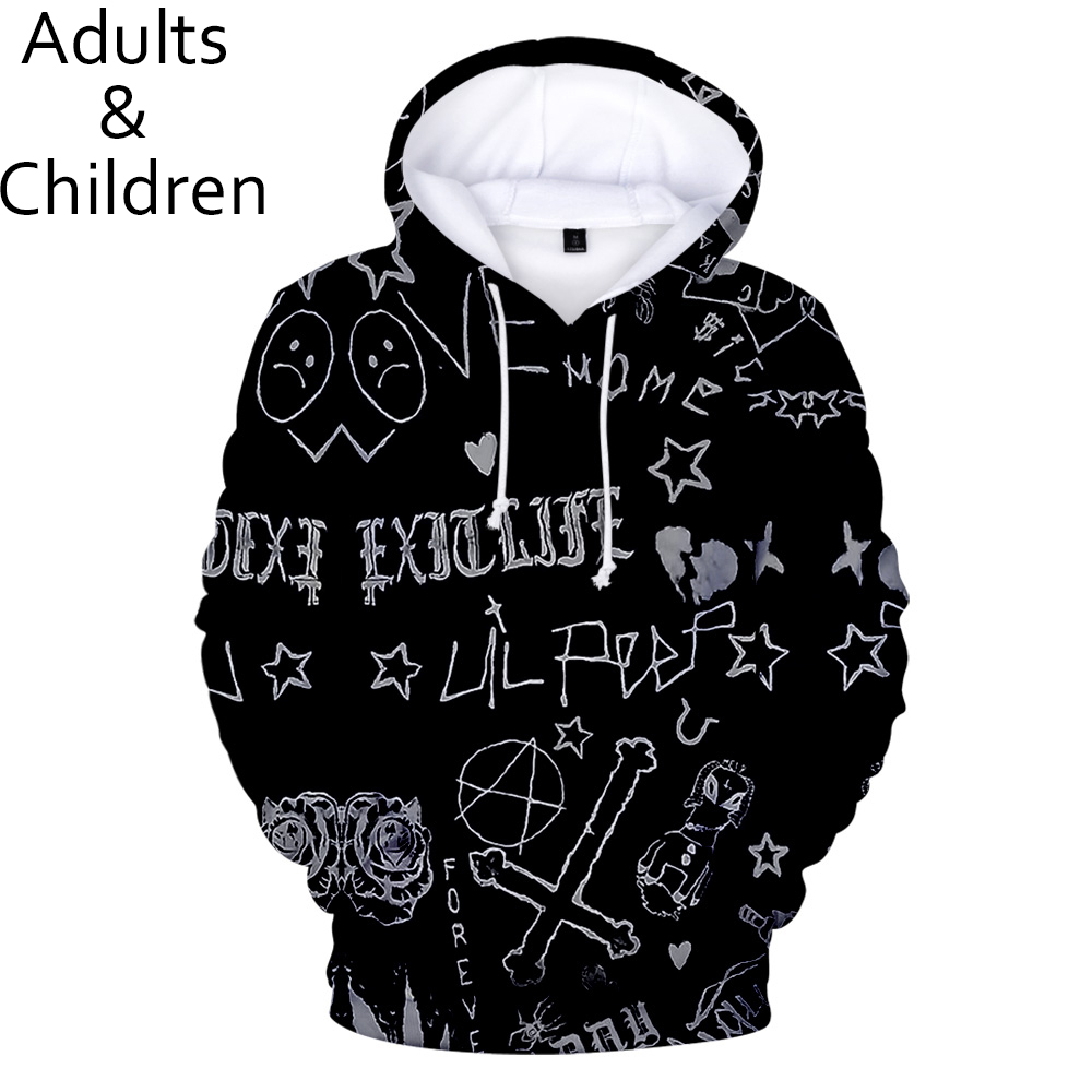 Fashion 3D Print Lil Peep Hoodies Men Women Sweatshirts Boys Girls Hoodie Autumn Harajuku Kids Hooded Casual Black Pullovers