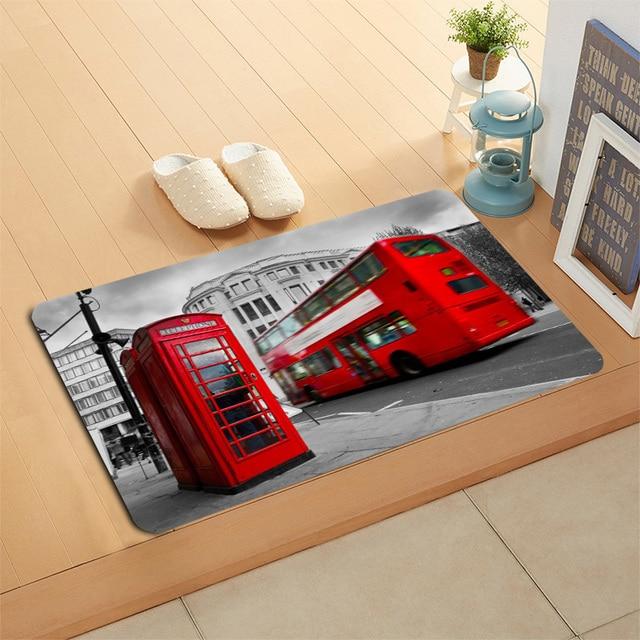 패션 런던 거리 Doormat 층/목욕/주방/비치 매트 플란넬 스폰지 패브릭 3D 인쇄 얽히고 설킨 사용자 정의 장식 침실