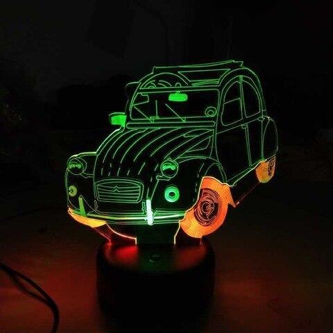 3 cores legal luz da noite do carro led 3d luz mutilcolor acrilico luz lampada