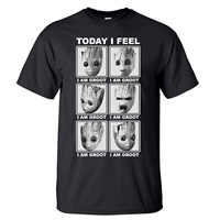 Groot Tshirt Men Superhero Today I Feel T shirt Summer Tops Short Sleeve White Black Loose Tees Workout Super Hero T-Shirt Mens