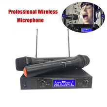 купить Dual Way Digital UHF Wireless Microphone with 2 Metal Handhelds Microphone Studio Professional Cordless Karaoke 2-Channel дешево