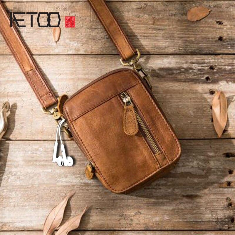 AETOO Casual Bag Crossbody Outdoor Sports Leather Pocket Shoulder Bag Mini Bag Men's Leather Small Man Bag