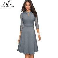 Nice-forever-Vestidos Retro de encaje calado para mujer, vestido de fiesta de negocios, Swing, Color sólido, A234