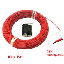 Mejor Precio 10M 15M calor de minco 33 12k ohm Cable de calefacción de fibra de carbono fluoroplástico Cable caliente eléctrico de piso, línea directa del calentador de la habitación