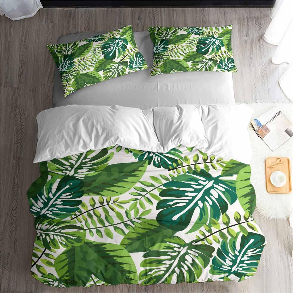 HELENGILI 3D Bedding Set Tropical Plants Print Duvet Cover Set Lifelike Bedclothes With Pillowcase Bed Set Home Textiles #RD-01