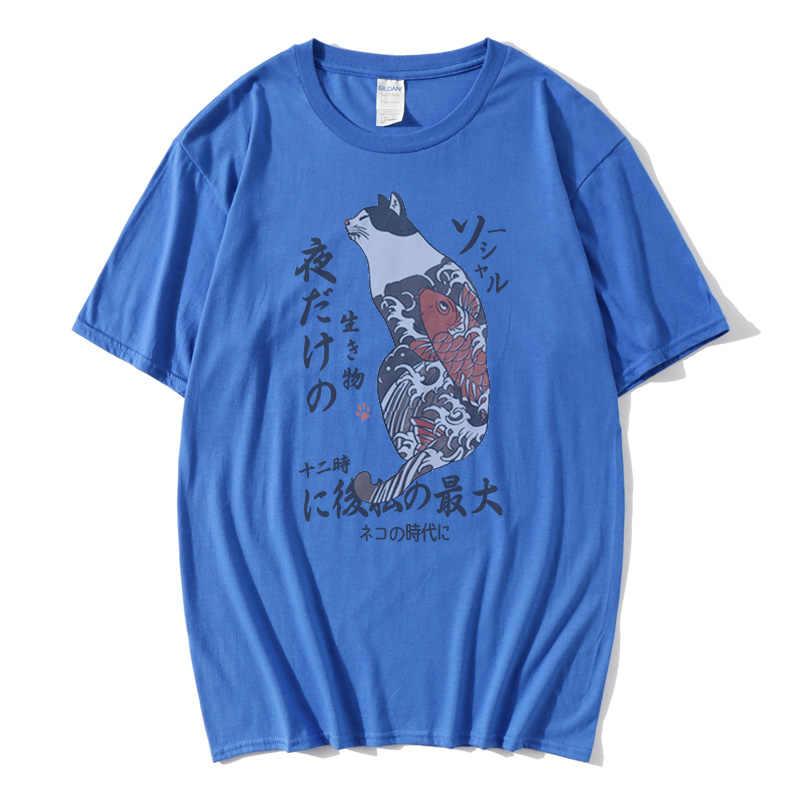 2019 힙합 T 셔츠 남성 일본 우키요 E 고양이 T 셔츠 하라주쿠 Streetwear Tshirt 캐주얼 반소매 여름 탑스 Tee Japan Style