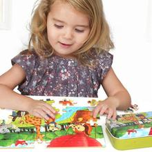 Random Style 60 Pieces Kids Wooden Cartoon Pattern Puzzle Toy with Iron Box for Kindergarten