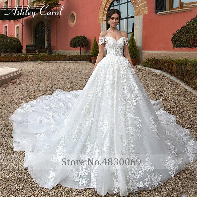 Ashley Carol Ball Gown Wedding Dress 2021 Beaded Sweetheart Cap Sleeve Princess Appliques Lace Up Bride Robe De Mariage Royale 4