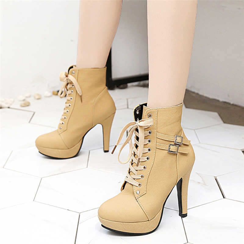 Women'S Boots Fashion Round Head Leather Lace-up Work & Safety Boots Retro High Heeled Martin Boots For Ladies 9#5