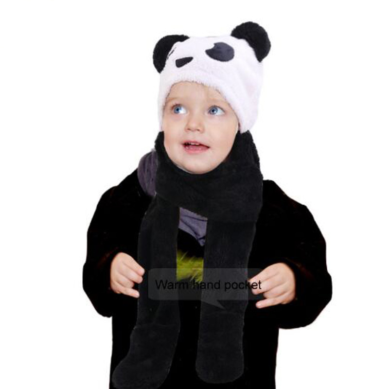 XEONGKVI Winter Warm Cartoon Panda Plush Conjoined Children Knitted Cap Scarf Gloves Set Lovely Three-piece Set Hat For Boy Girl