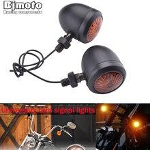 2 sztuk motocykl kierunkowskazy wskaźnik światła retro Bullet Flashers LED żarówki lampy dla Harley Honda Suzuki Yamaha Kawasaki ATV