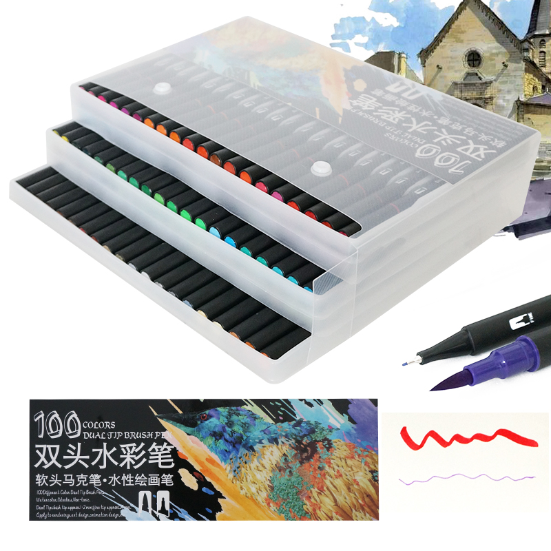 High Quality 100 Color Art Markers Dual Tips Brush Fineliner Pens Water For Calligraphy
