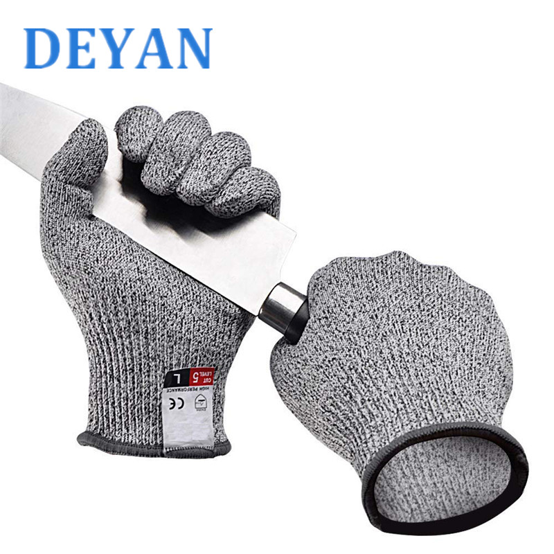 Multi Function Anti Cut Proof Gloves Hot Sale Gray Black Food Grade HPPE EN388 Cut Resistant Level 5 Safety Working Gloves