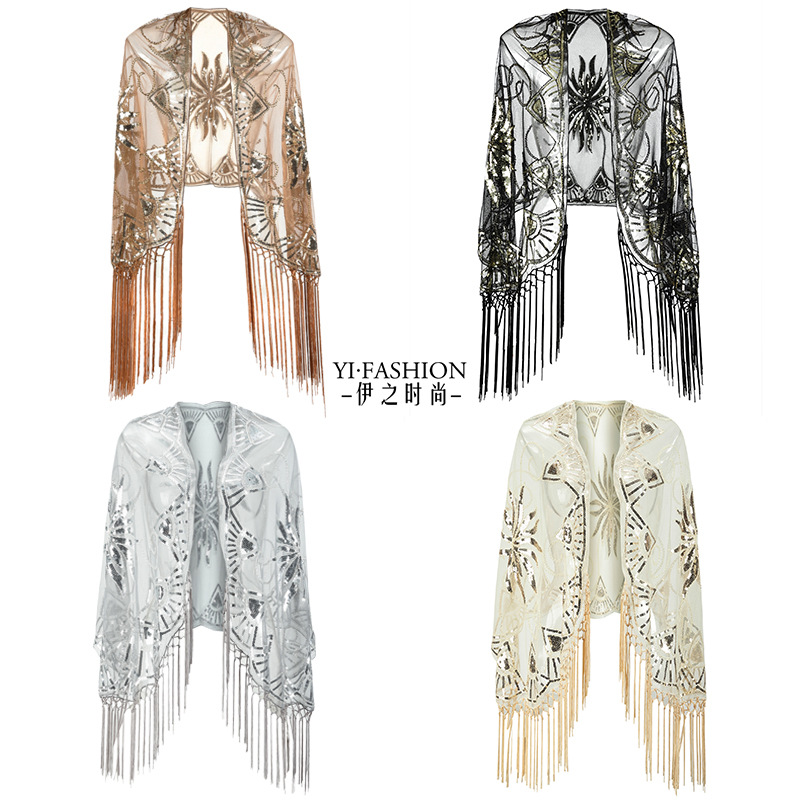 Europe And America Tassels Sequined Evening Gown New Style Creative Party Dinner Formal Dress Shawl Amazon Wish Cross Border Hot