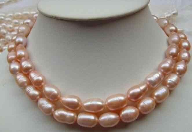 Bijoux collier de perles 2 rangées 11-13mm naturel mer du sud rose vis collier de perles 925 argent jaune fermoir livraison gratuite